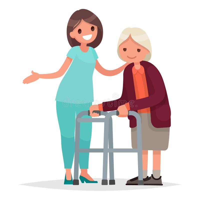 A enfermeira ajuda sua avó a ir ao caminhante Inquietação com ilustração do vetor