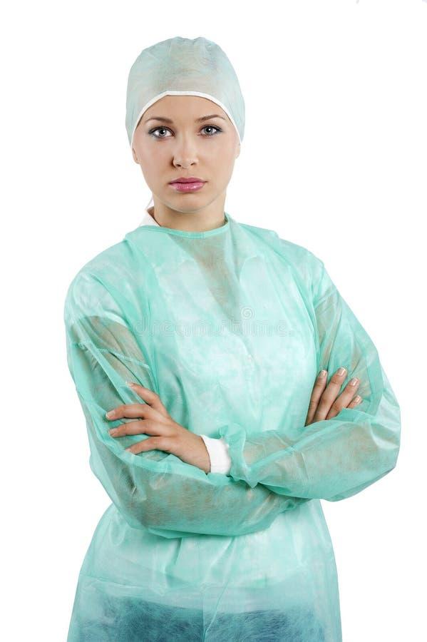 Enfermeira com tampão fotografia de stock