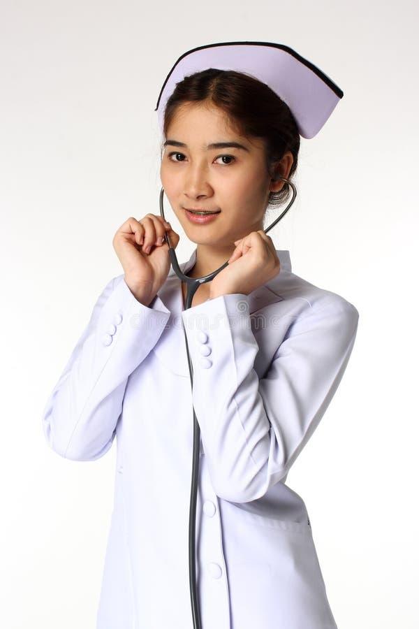 Enfermeira com um estetoscópio fotografia de stock