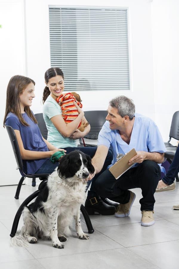 Enfermeira Crouching By Pets e proprietários na área de espera imagens de stock