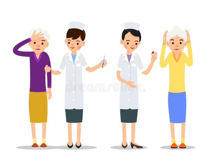 A enfermeira dá o comprimido ao paciente O médico sugere medir a temperatura com termômetro Umas mulheres mais idosas sofrem da d ilustração stock
