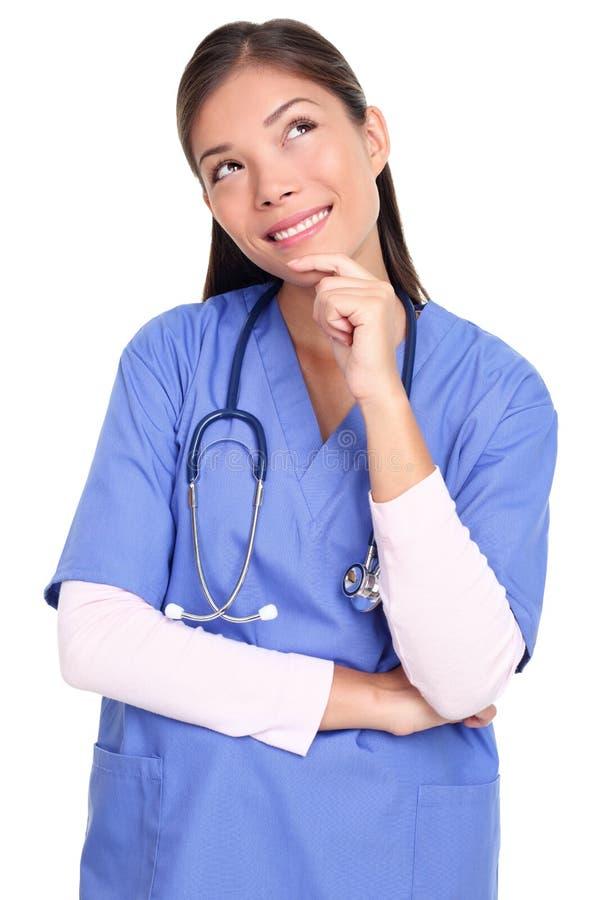 Enfermeira de pensamento isolada imagens de stock royalty free