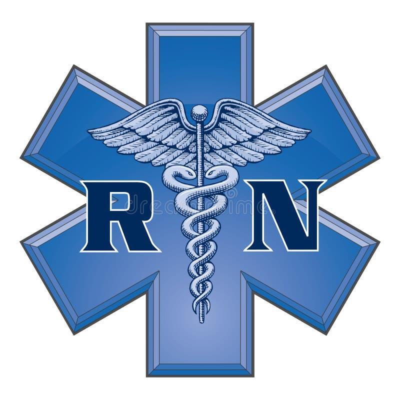 Enfermeira diplomada Star do símbolo médico da vida ilustração do vetor
