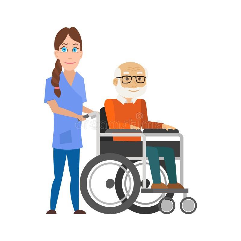 Enfermeira dos jovens que empurra a cadeira de rodas com ancião deficiente Ajudando povos idosos e doentes Vetor ilustração royalty free