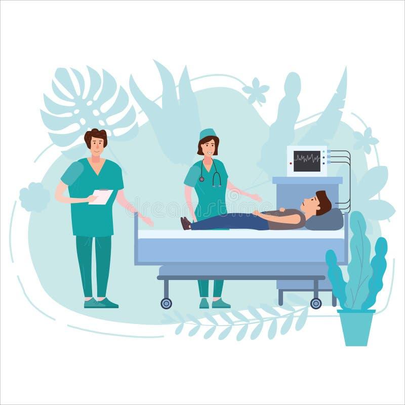 Enfermeira e doutor da equipe médica que consultam homens novos pacientes em um fundo floral da cama médica Hospitalização do ilustração royalty free