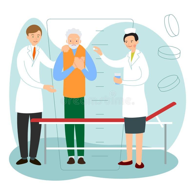 A enfermeira e o doutor sugerem o paciente para ir para a cama A enfermeira está dando a medicina a um paciente masculino idoso A ilustração royalty free