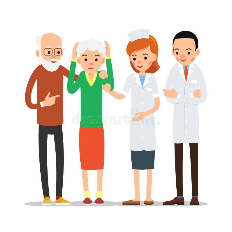 Enfermeira e paciente O doutor da mulher dá a tabuleta doente da dor dental O ancião doente mantém sua mão atrás do mordente que  ilustração stock