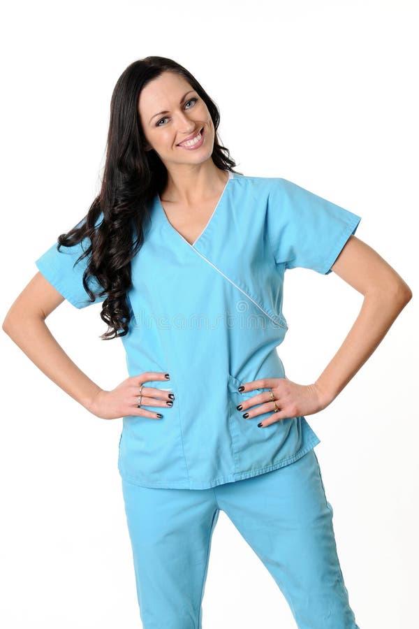 A enfermeira esfrega dentro imagem de stock
