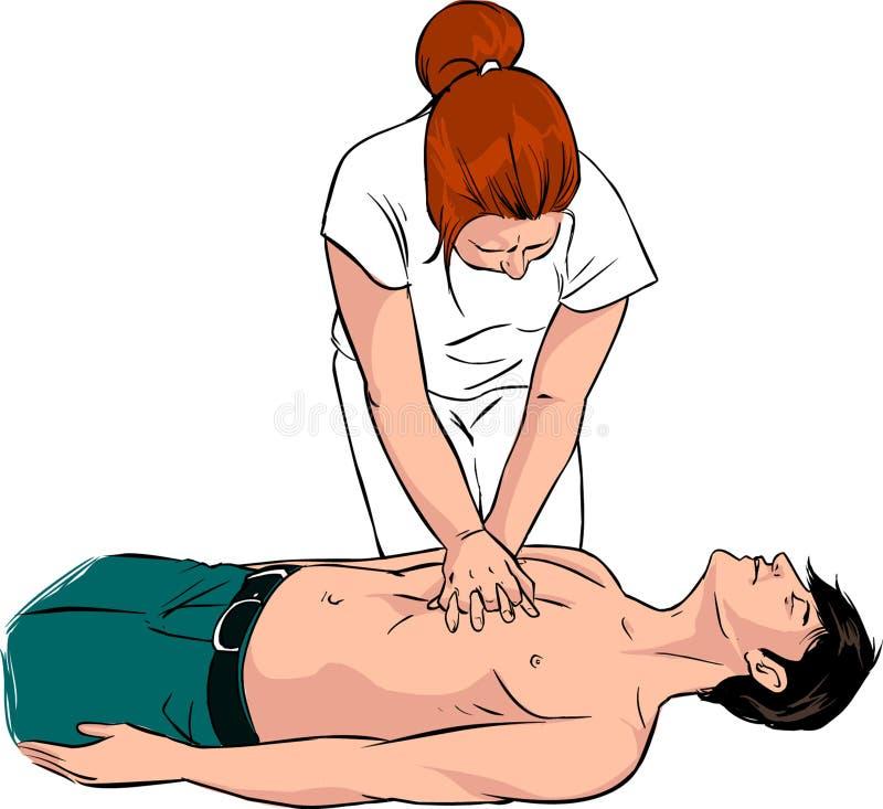 A enfermeira faz primeiros socorros para um homem com cardíaco de ataque na rua ilustração do vetor