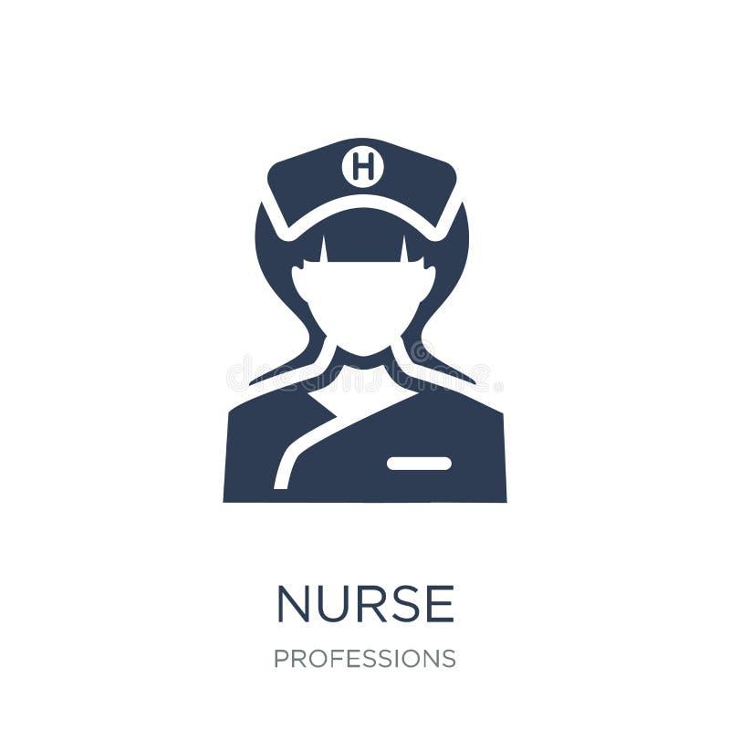 Enfermeira Icon Ícone liso na moda da enfermeira do vetor no fundo branco franco ilustração stock