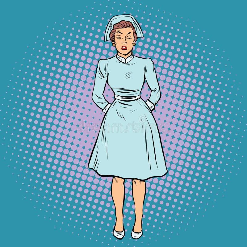 Enfermeira irritada descontentada ilustração do vetor