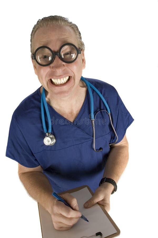 Enfermeira masculina louca fotografia de stock