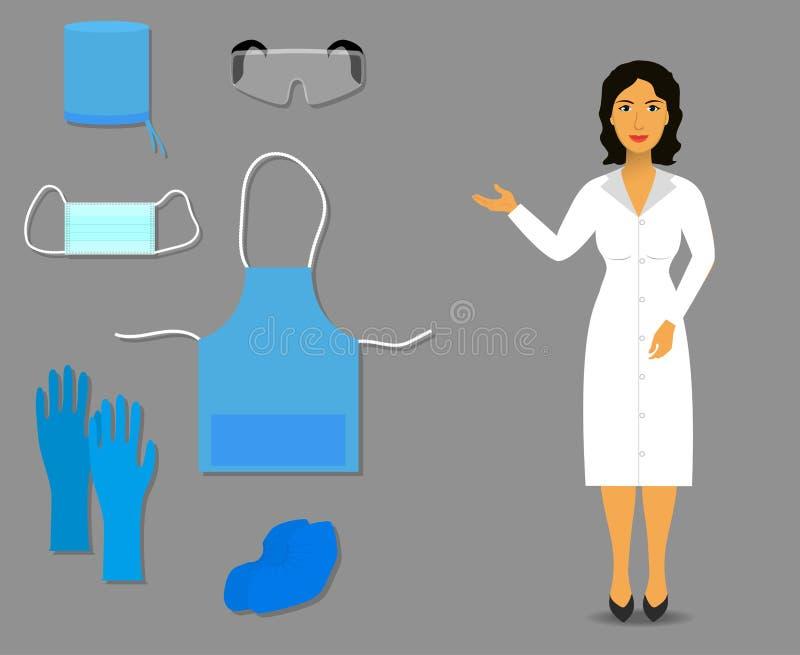 A enfermeira mostra a roupa e acessórios médicos para o trabalho ilustração stock