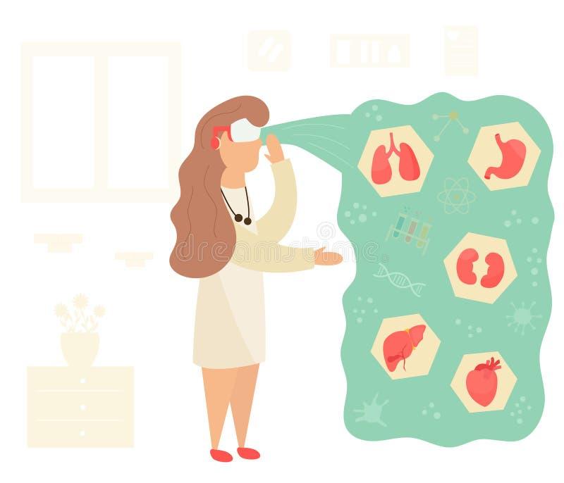 Enfermeira na realidade virtual que aprende a anatomia ilustração royalty free