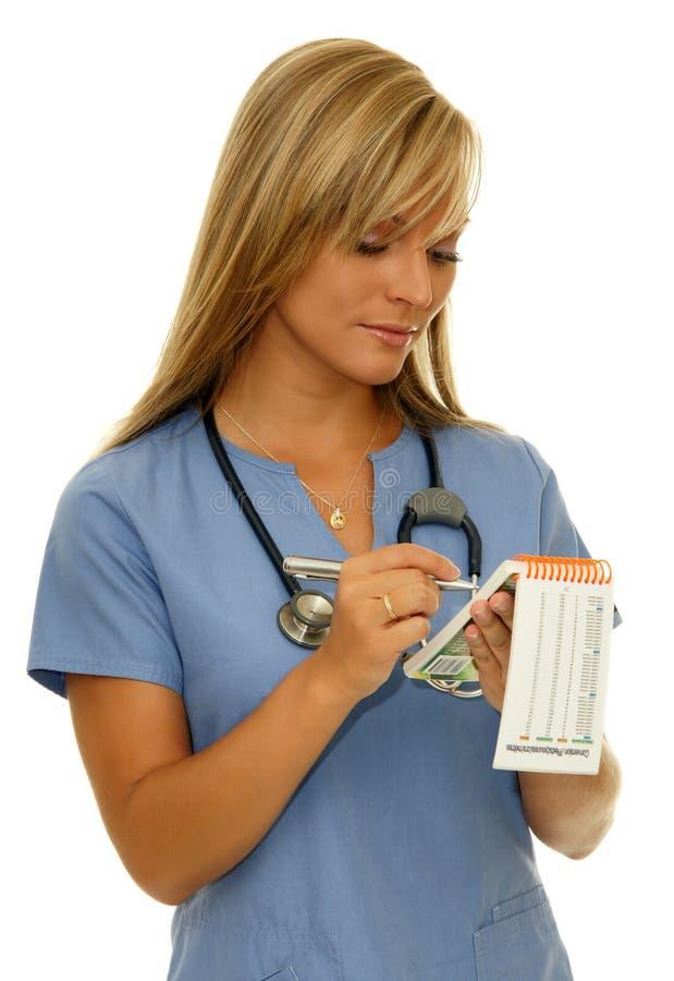 Enfermeira no azul fotografia de stock
