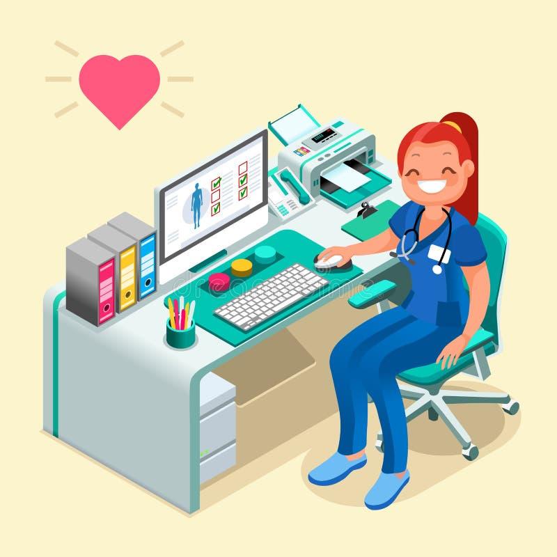Enfermeira ou doutor fêmea Cartoon Isometric People ilustração do vetor