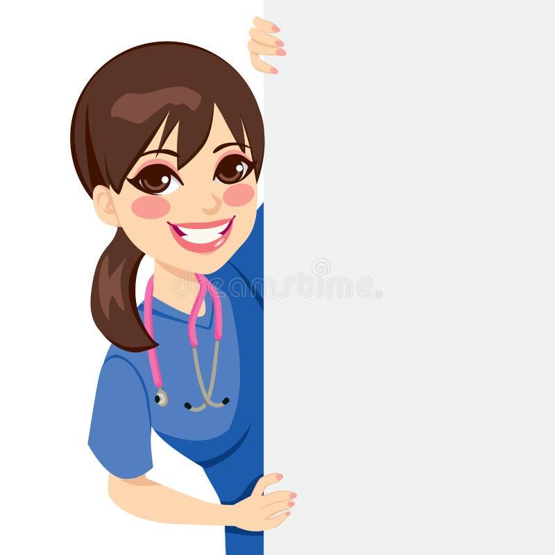 Enfermeira Peeking dos jovens ilustração do vetor