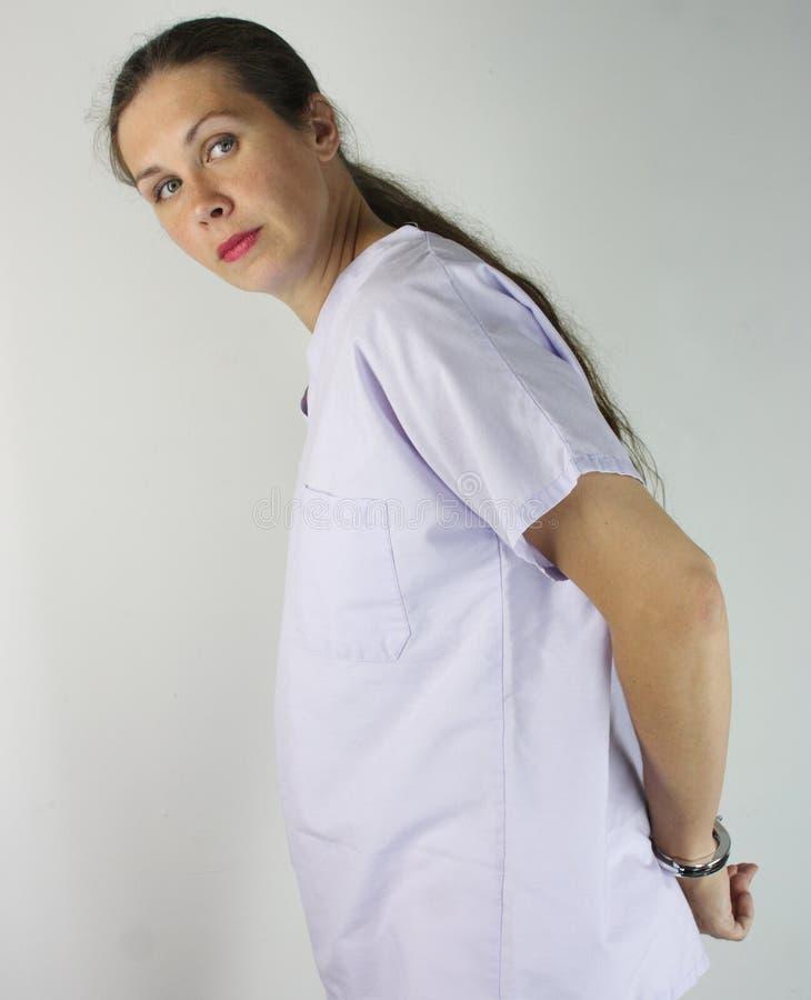 Enfermeira prendida imagens de stock