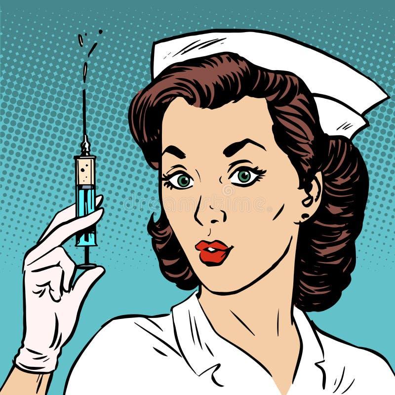 A enfermeira retro dá uma saúde da medicina da seringa da injeção ilustração do vetor