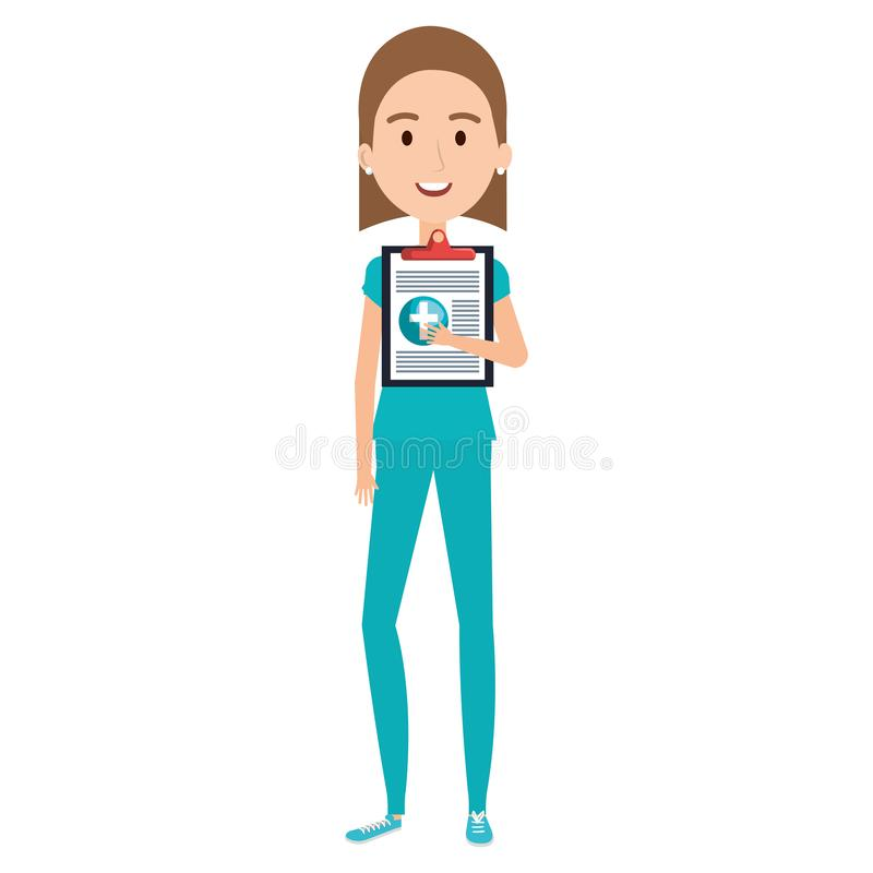 Enfermera con el carácter de la lista de control ilustración del vector