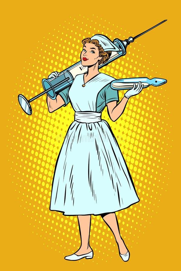 Enfermera con la jeringuilla libre illustration