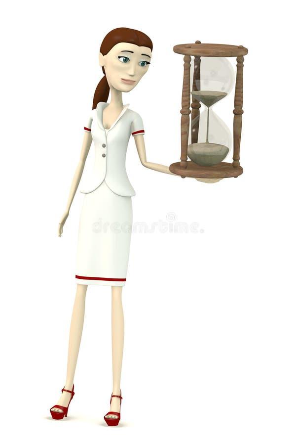 Enfermera con reloj de arena stock de ilustración