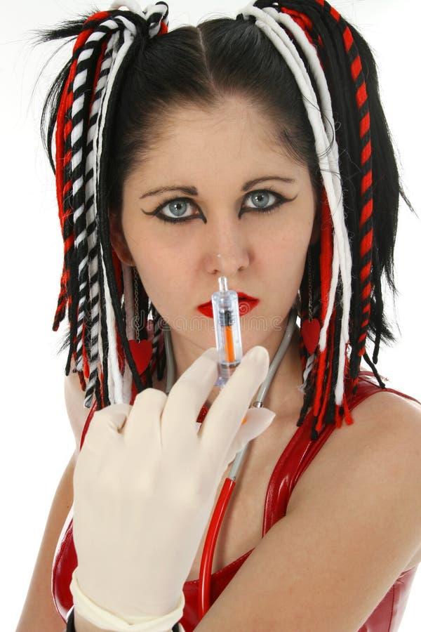Enfermera de Goth imagen de archivo libre de regalías