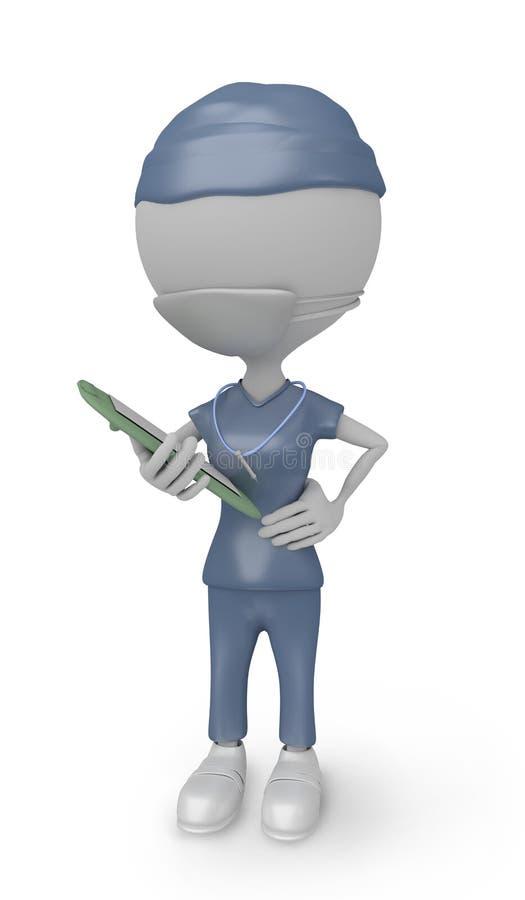 enfermera de la gente blanca 3D con la máscara libre illustration