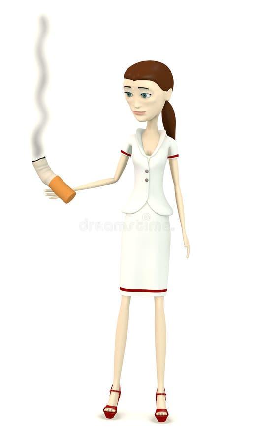 Enfermera de la historieta con el cigarrillo stock de ilustración
