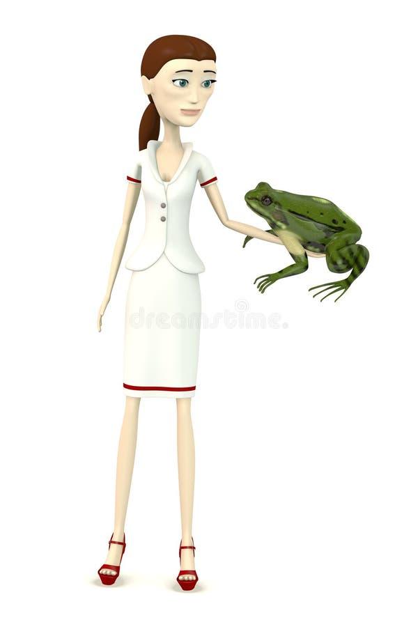 Enfermera de la historieta con esculanta del rana stock de ilustración