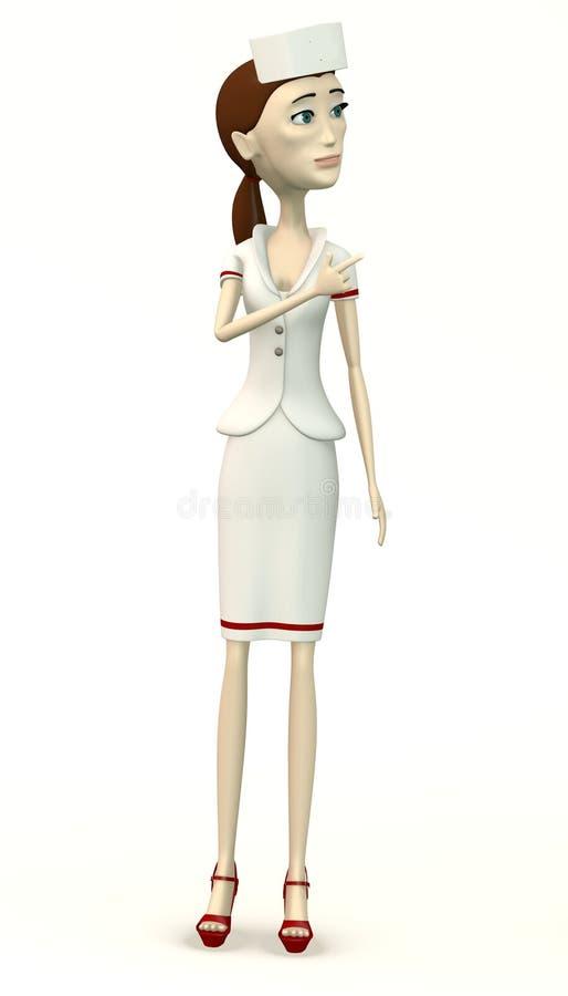 Enfermera de la historieta - señalando ilustración del vector