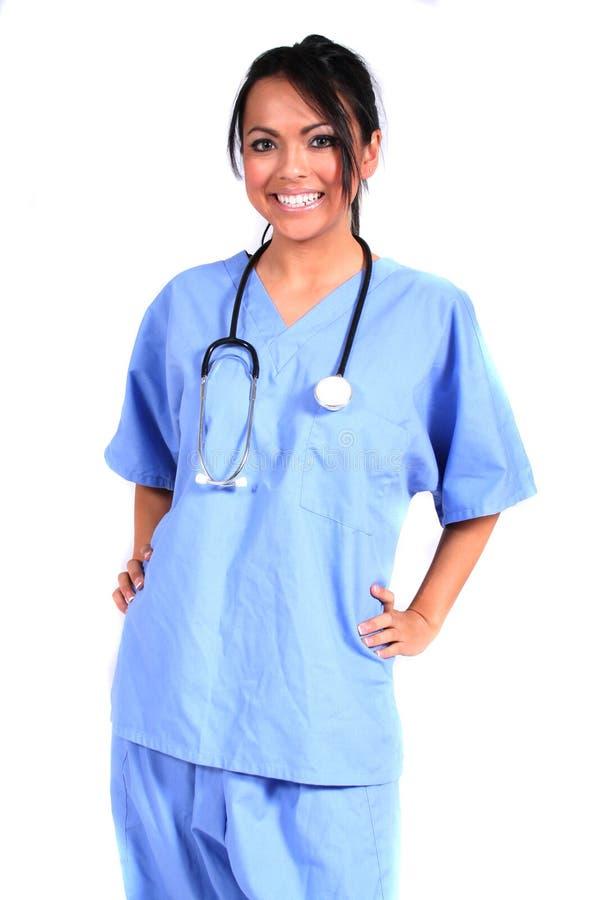 Enfermera de sexo femenino linda, doctor, trabajador médico imagen de archivo libre de regalías