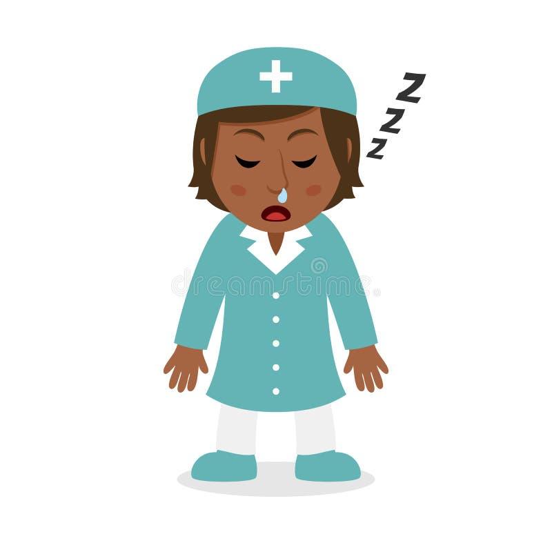Enfermera de sexo femenino negra durmiente Character ilustración del vector