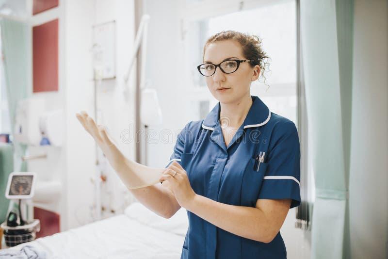 Enfermera de sexo femenino que pone en un guante imagenes de archivo
