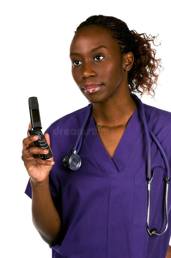 Enfermera del teléfono celular fotos de archivo libres de regalías