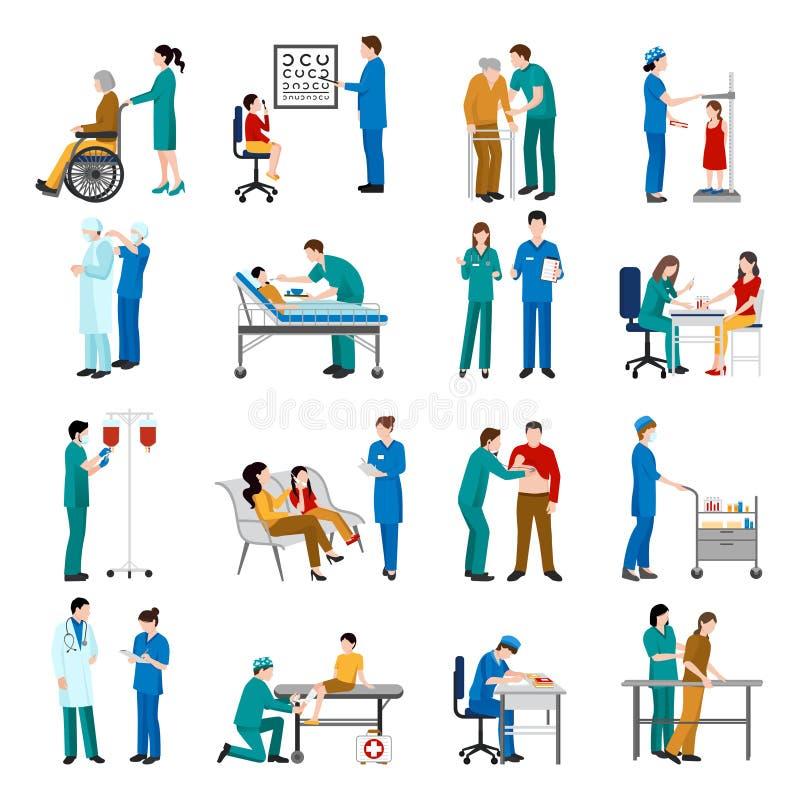 Enfermera Icons Set stock de ilustración