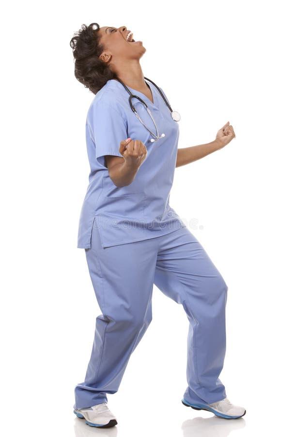 Enfermera muy emocionada imagen de archivo