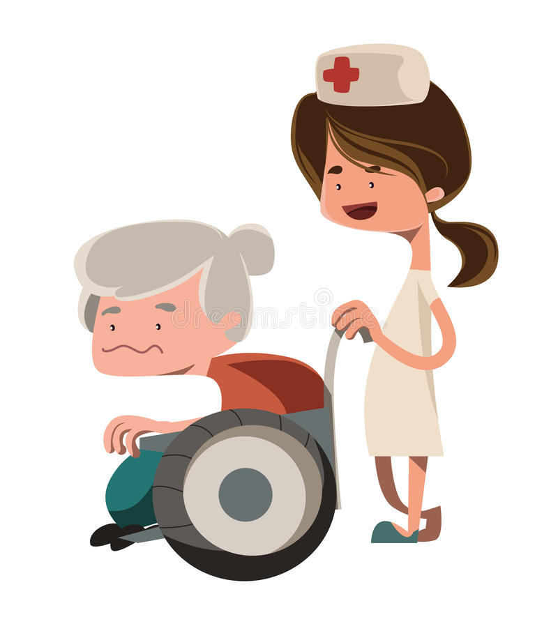Enfermera que ayuda al viejo personaje de dibujos animados del ejemplo de la abuelita foto de archivo libre de regalías