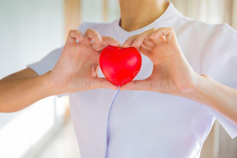 Enfermera que muestra el modelo del corazón en hospital imágenes de archivo libres de regalías