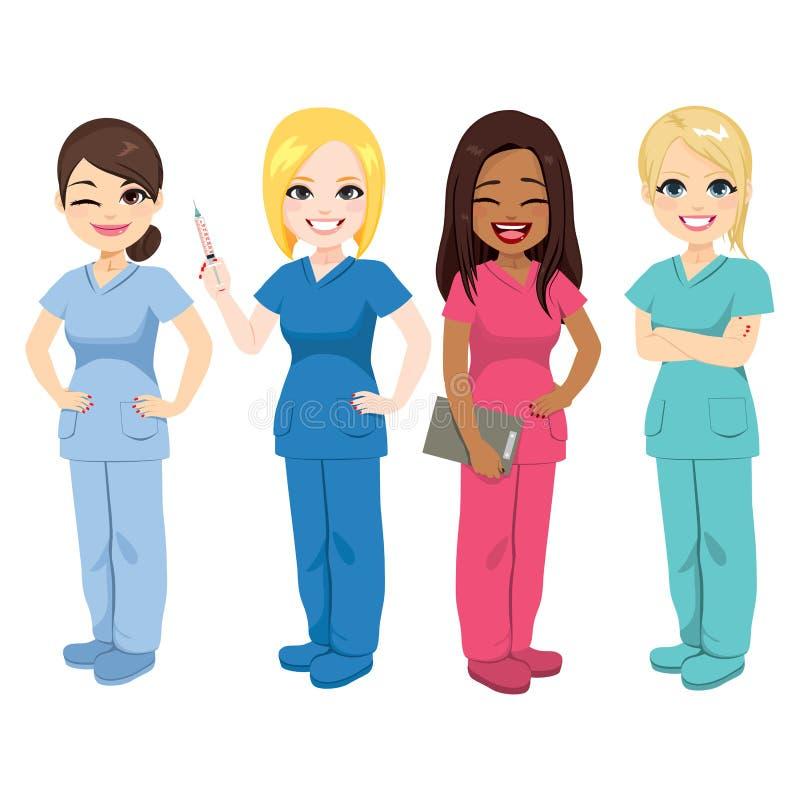 Enfermera Team Staff stock de ilustración