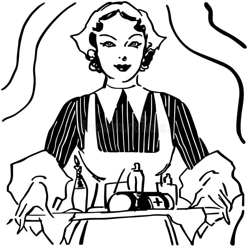 Enfermera With Tray Of Medicine ilustración del vector