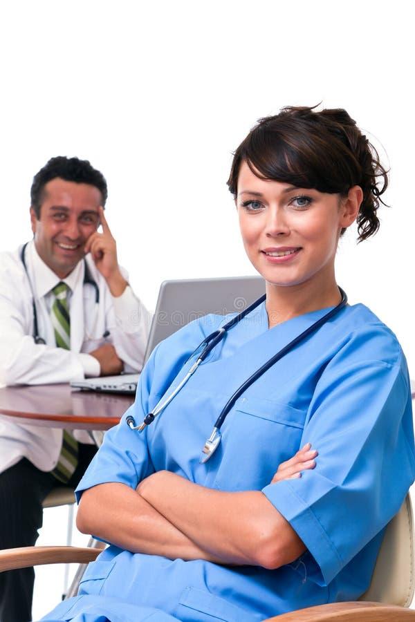 Enfermera Y Doctor Foto de archivo libre de regalías