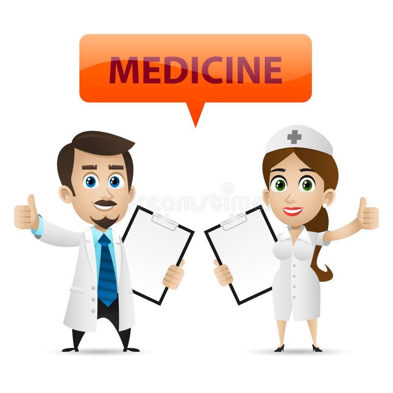 Enfermera y doctor que muestran el pulgar para arriba libre illustration