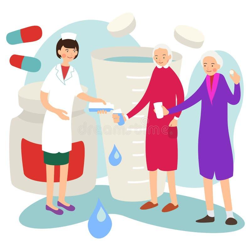 Enfermera y paciente El doctor da la medicaci?n paciente Terapia de la ayuda de la química Atenci?n sanitaria m?dica Tratamiento  libre illustration