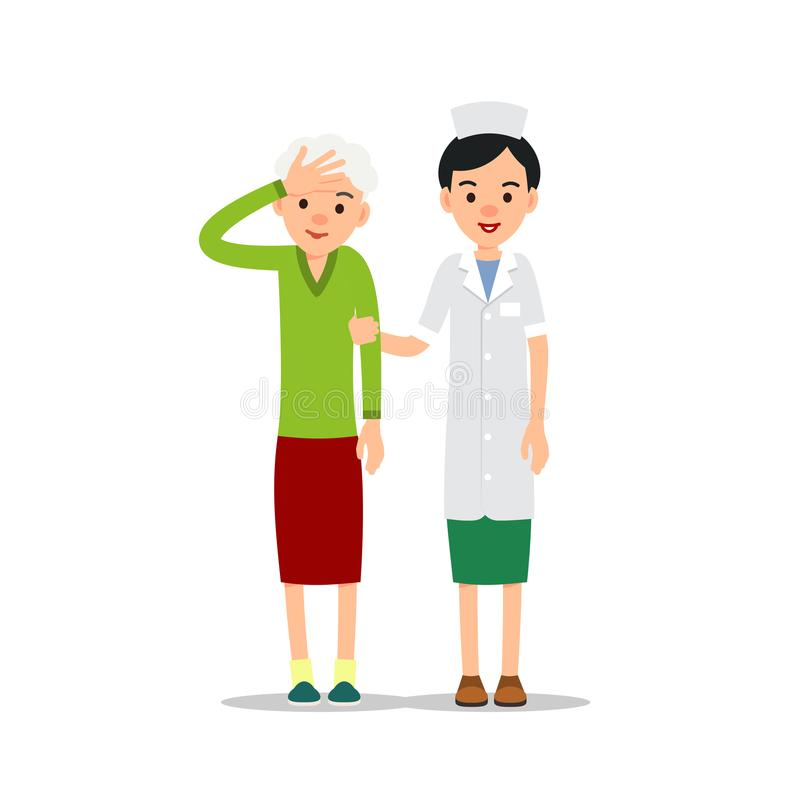 Enfermera y paciente Los soportes jovenes del médico y apoyan un elderl libre illustration