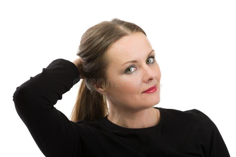 Enfermo de cáncer hermoso de la mujer de la Edad Media antes de afeitar el pelo fotografía de archivo libre de regalías