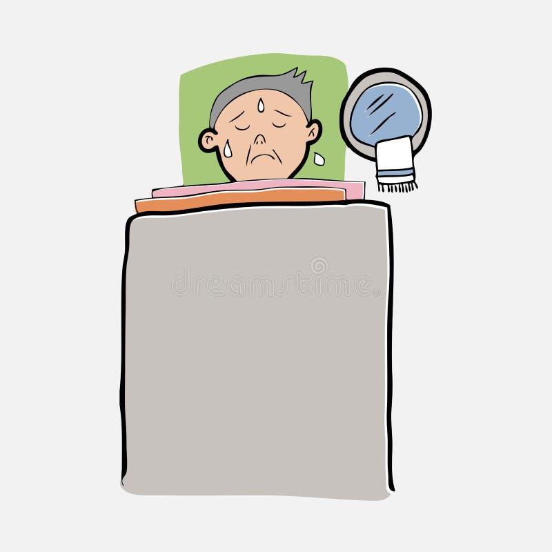 Enfermo del viejo hombre en cama ilustración del vector