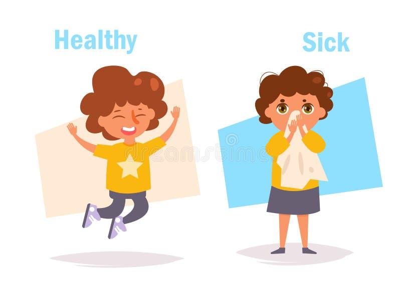 Enfermo sano enfrente de libre illustration