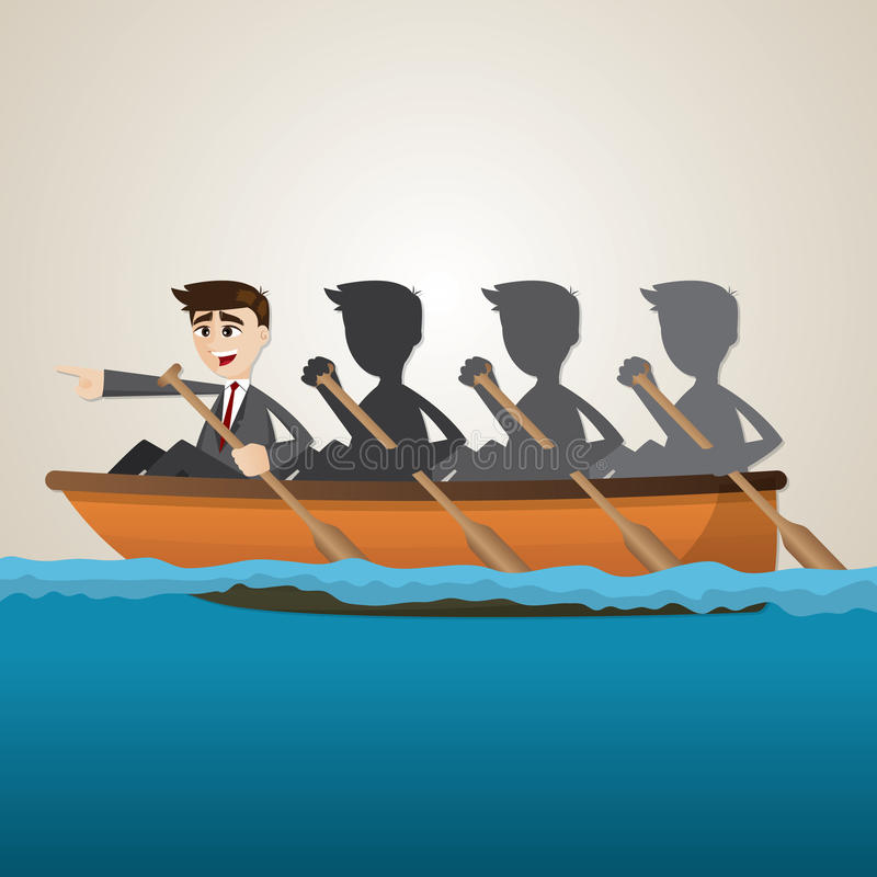 Enfileiramento da equipe do negócio dos desenhos animados no mar ilustração stock