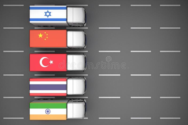Enfileire os caminhões pintados na cor das bandeiras de países diferentes ilustração royalty free